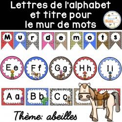Mur de mots et lettres de l'alphabet - Cowboys