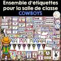 Ensemble étiquettes pour la classe - Cowboys