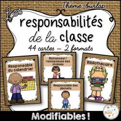Responsabilités dans la classe - Thème: toile