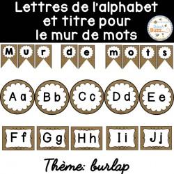 Mur de mots et lettres de l'alphabet - Toile