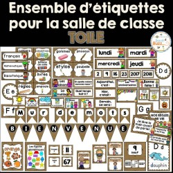 Ensemble étiquettes pour la classe - Toile