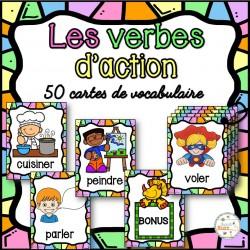 Les verbes d'action - Cartes de vocabulaire