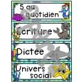 Ensemble étiquettes pour la classe - Océan