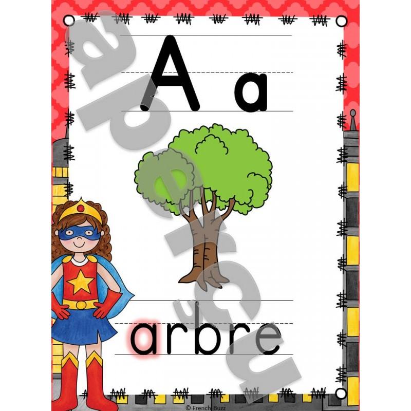l 39 alphabet affiches super h ros. Black Bedroom Furniture Sets. Home Design Ideas