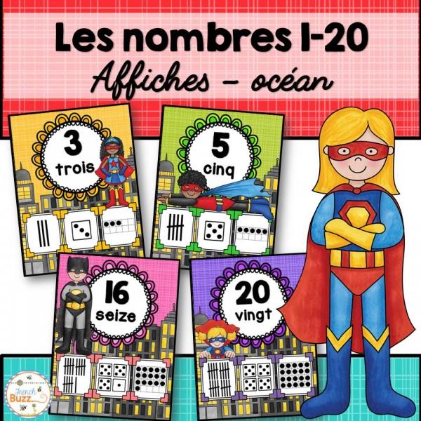 Nombres 1-20 - Affiches - Super-héros