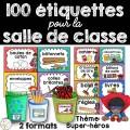 100 étiquettes pour la classe - Super-héros