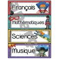 Ensemble d'étiquettes pour la classe - Super-héros