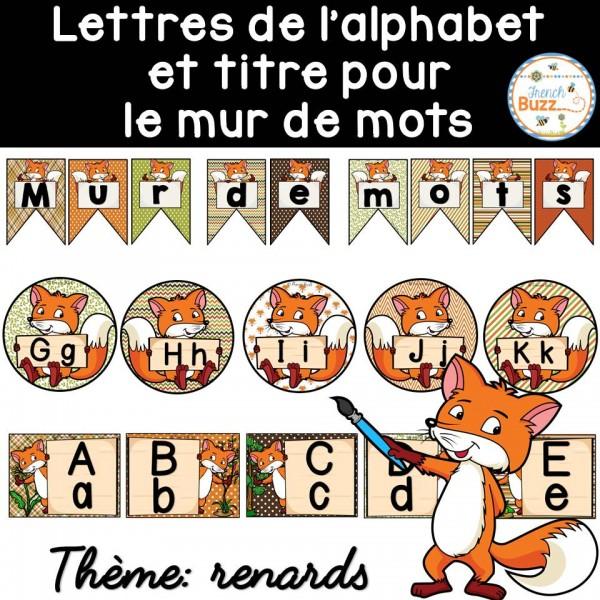Mur de mots et lettres de l'alphabet - renards