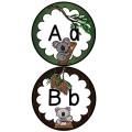Mur de mots et lettres de l'alphabet - koalas