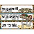 La nourriture - Mur de mots et lexique (60 mots)