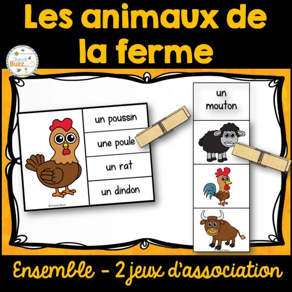 Animaux de la ferme - Ensemble jeux d'association