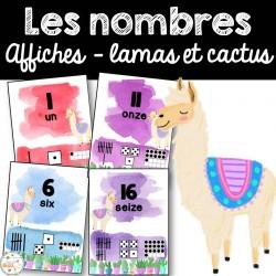 Nombres 0-20 - Affiches - Lamas et cactus