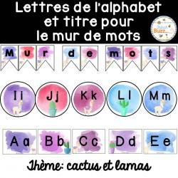 Mur de mots et lettres de l'alphabet - étiquettes
