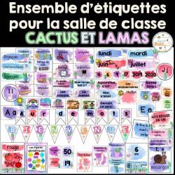 Ensemble étiquettes pour la classe - Lamas/cactus