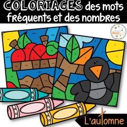 Coloriages mots fréquents et nombres - L'automne
