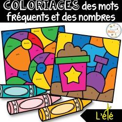 Coloriages mots fréquents et nombres - L'été