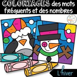 Coloriages mots fréquents et nombres - L'hiver