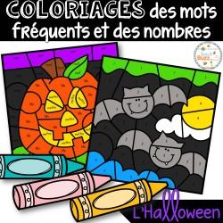 Coloriages mots fréquents et nombres - L'Halloween