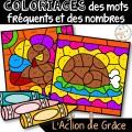 Coloriage mots fréquents/nombres-Action de Grâce