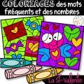Coloriage mots fréquents/nombres - Saint-Valentin