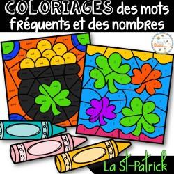 Coloriage mots fréquents et nombres - St-Patrick