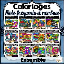 Coloriage mots fréquents et nombres - Ensemble