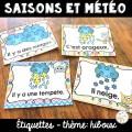 Les saisons et la météo - étiquettes - hiboux