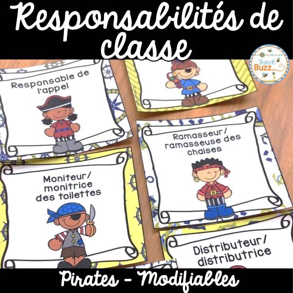 Responsabilités dans la classe - Thème: pirates