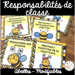 Responsabilités dans la classe - Thème: abeilles