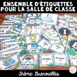 Ensemble d'étiquettes pour la classe - Grenouilles