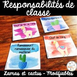 Responsabilités de classe - Thème: cactus et lamas