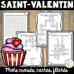 Saint-Valentin - mots cachés, fléchés, croisés