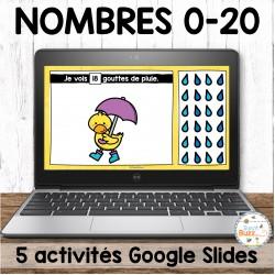 Nombres 0-20 - Ensemble d'activités Google Slides