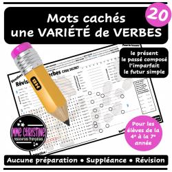Mots cachés Révision des verbes 2 Pres PC Imp FS