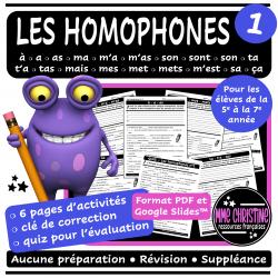 Les homophones #1 - 6 activités avec quiz