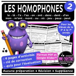 Les homophones #2 - 6 activités avec quiz