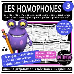 Les homophones #3 - 6 activités avec quiz