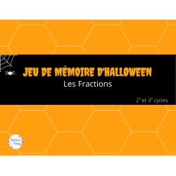 Jeu de mémoire d'halloween : Les fractions
