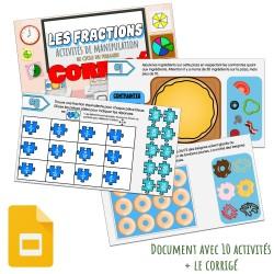 Activités avec manipulation (Les fractions)