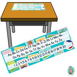 Aide-mémoire pour le pupitre (alphabet et nombres)