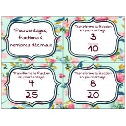 Pourcentages, fractions et nombres décimaux