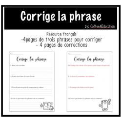 Corrige la phrase: activité de grammaire français