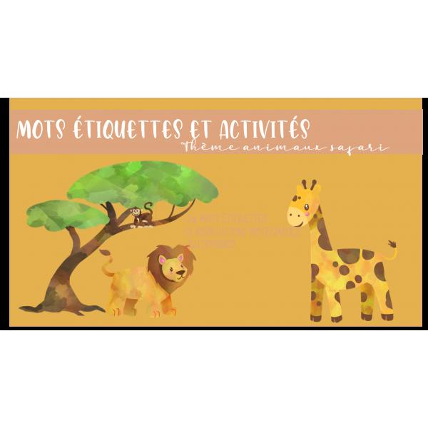 Mots étiquettes et activités safari