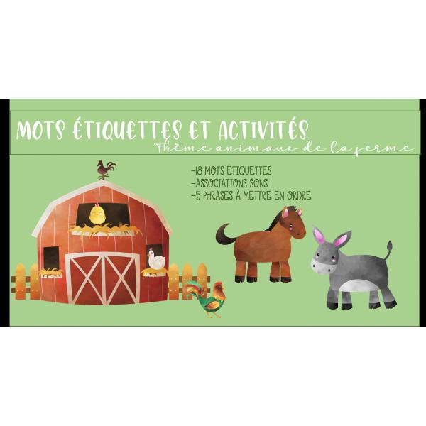Mots étiquettes et activités animaux ferme
