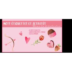 Mots étiquettes et activités St-Valentin