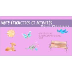 Mots étiquettes et activités printemps