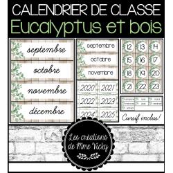 Calendrier - Eucalyptus et bois (script et cursif)