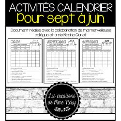 Activités calendrier - Sept à Juin
