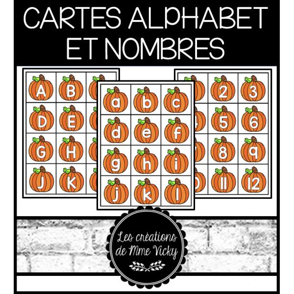 Cartes d'alphabet et nombres - Citrouilles