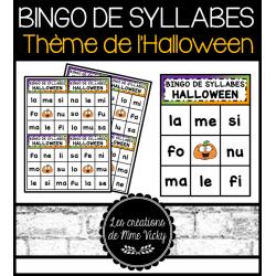 Bingo des syllabes (l, m, f, n, s) - Halloween